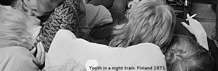 Youth in a night train. Finland 1971.